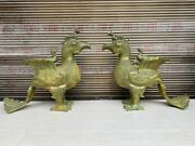 Pair 23 And039and039 Old Bronze Ware Handcarved Bird Phoenix Censer Statue