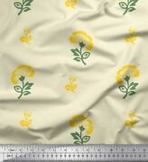 Soimoi Cotton Poplin Fabric Leaves And Floral Block Print Sewing Fabric-anh