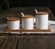 Creative Ceramic Spice Jar Sets With Spoons And Covers Simple Creative Salt Jars