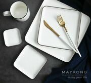 Solid Ceramic Plate Rectangle Square Bone Steak Plates Top Quality Tableware New