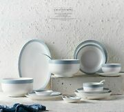 Household Ceramics Bowl Japanese Style Strip Patterns Tableware Plates And Bowls