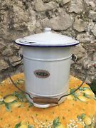 Antique French Belgian White Blue Graniteware Slop Bucket Pail Compost W Lid Tag