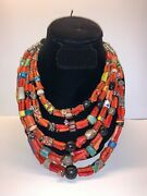 Vintage Moroccan Branch Coral Necklace With Venetian Glass Trade Beads 1a