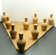 Antique Ta-bowl Bowling Game / Toy - Miniature - Setting Board W/ 9 Pins - Table