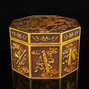 5.7 Old Chinese Purple Bronze 24k Gilt Handcarved Kylin Eight Symbols Statues