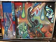 Isaac A Wright Belfast Maine Artist Hand Painted Found Object Heavy Metal Panel