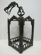 Old Cast Iron Gothic Lamp Light Fixture Architectural Hardware Element