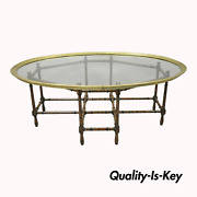 Vtg English Chinese Chippendale Faux Bamboo Glass Brass Tray Top Coffee Table