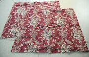 2 Standard Pillow Sham Red Floral Scroll French Country Traditional