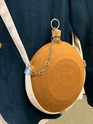 Civil War U.s. Army Issue Bullseye Canteen W/ Tan Wool Cover Cotton Sling New