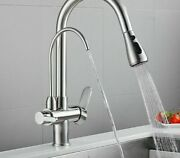 Dual Handle Kitchen Faucets Contemporary Style Ceramic Plate Spools Solid Faucet