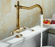 Double Handle Antique Faucets Single Hole Contemporary Deck Mounted Solid Faucet