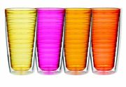 Insulated Plastic Tumblers Double Wall 24 Ounce Bpa Free Durable Set Of 4 New