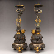 14.3 China Antique Bronze Gilt Handcarved Sheep Three Foot Candlestick Statues