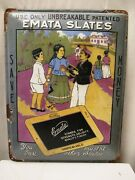 Vintage Emata Slates Made In Germany Sign Board Enamel Porcelain Collectibles