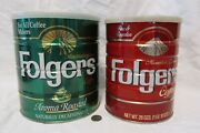 Lot Of 2 Vintage Folgers Coffee Tin Cans Empty W/lids 26 And 39 Oz Sizes,1984 1993