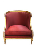 Furniture Red Luxury Satin Chair Louis Xvi Style With Pillow Upholstered In A