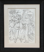 George Grosz Man And Woman With Lamp Erotic Pen And Ink On Paper Signed