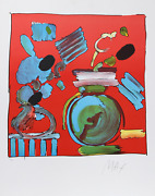 Peter Max Composition Red Lithograph Signed And Numbered In Pencil