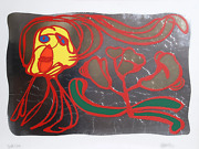 Karel Appel Floating Silver Passion Screenprint On Foil Mounted To Board Sign