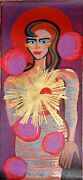 Elvira Bach Standing Woman With Red Hair Screenprint Signed And Numbered In P