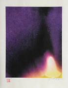 Jonathan Singer Yellow And Purple Flames Digital Photo Of Japon Paper Signed