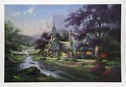 Thomas Kinkade Clocktower Cottage Offset Lithograph Signed And Numbered In Ma