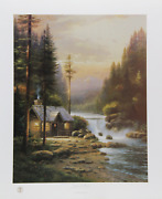 Thomas Kinkade Evening In The Forest Offset Lithograph Signed And Numbered In