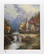 Thomas Kinkade The Mountain Chapel Offset Lithograph Signed And Numbered In M