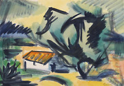 Laurent Marcel Salinas, Untitled - Farmhouse 80, Watercolor On Paper, Signed