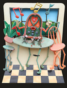 Roark Gourley Three Blind Mice Enameled 3-d Construction Signed And Dated Ver
