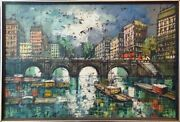 Remi Chapelle City Canal Oil On Canvas Signed