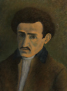 Laurent Marcel Salinas Russian Student Gouache On Paper Mounted To Canvas