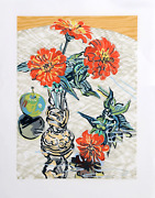 Janet Fish Apples And Zinnias Woodcut On Japon Paper Signed And Numbered In P