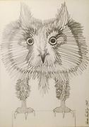 Ramon Santiago Owl Charcoal On Paper Signed L.r.