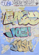 Various Artists Tagged Nyc Subway Map Marker On Subway Map Signed By Easy Jo