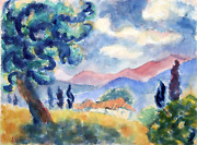 Laurent Marcel Salinas Village Paysage Watercolor On Paper Dated Verso