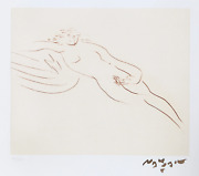 Reuben Nakian, Leda And The Swan - 3 Sepia, Drypoint Etching With Chine Colle,