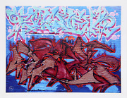 Jonathan Singer Red And Blue Tags From The Graffiti Series Digital Inkjet Prin