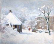 Unknown Artist Winter Scene Oil On Canvas Signed And Dated L.r.
