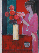 Jose Canes Woman In Pink With Red Flowers Acrylic And Pastel On Paper Signed