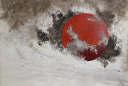 Yannick Ballif Red Planet Acrylic Monoprint And India Ink On Paper