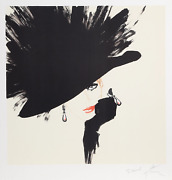Renandeacute Gruau Woman In A Black Hat And Glove Lithograph Signed And Dedicated To