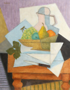 Laurent Marcel Salinas Cubist Still Life With Grapes 1108 Oil On Paper Sign