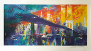 Leroy Neiman Brooklyn Bridge Lithograph Poster Signed In Ink