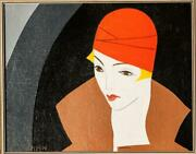 Seymour Zayon Woman In Red Cap Oil On Canvas Signed L.l.