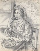 Laurent Marcel Salinas Woman Eating Grapes 323 Charcoal On Paper Signed U.l.