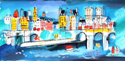 Charles Cobelle View Of Notre Dame From Seine 1 Acrylic On Canvas Signed L.r.