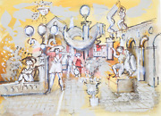 Charles Cobelle Sculpture Garden With Guitar Player 1 Acrylic On Paper Signed