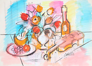 Charles Cobelle Still Life With Wine And Violin 3 Acrylic On Paper Signed L.r